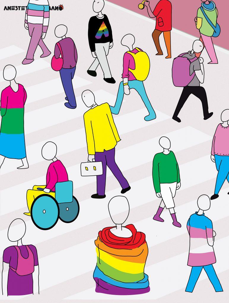 """Anestetico Urbano Core team """"E queste intersezioni sono moltissime""""  Non è possibile racchiudere l'umanità in uno schema binario fatto solamente di donne e uomini (eterosessuali cisgender). Siamo un'intersezione di molteplici aspetti e le combinazioni fra questi sono tantissime."""