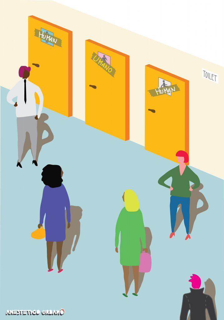 """Anestetico Urbano Core team """"La lotta per i diritti passa dal quotidiano.  Anche dai bagni liberi dalla discriminazione.""""  Alcune persone non si sentono a proprio agio nell'utilizzare un bagno che indica un genere specifico perché spesso, per il loro aspetto, hanno avuto problemi a frequentare bagni per uomini o donne. Il bagno all gender permette a tutti di ottenere uno spazio confortevole"""